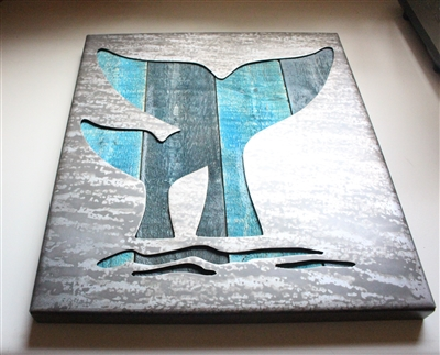 Whale Tail Pair Metal Decor Panel
