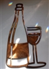 Wine Bottle & Glass Metal Art Copper/Bronze Plated