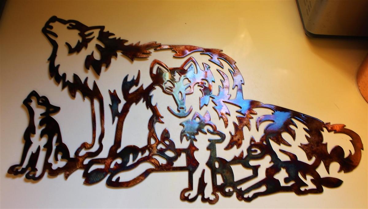 Wolf Family Metal Wall Art