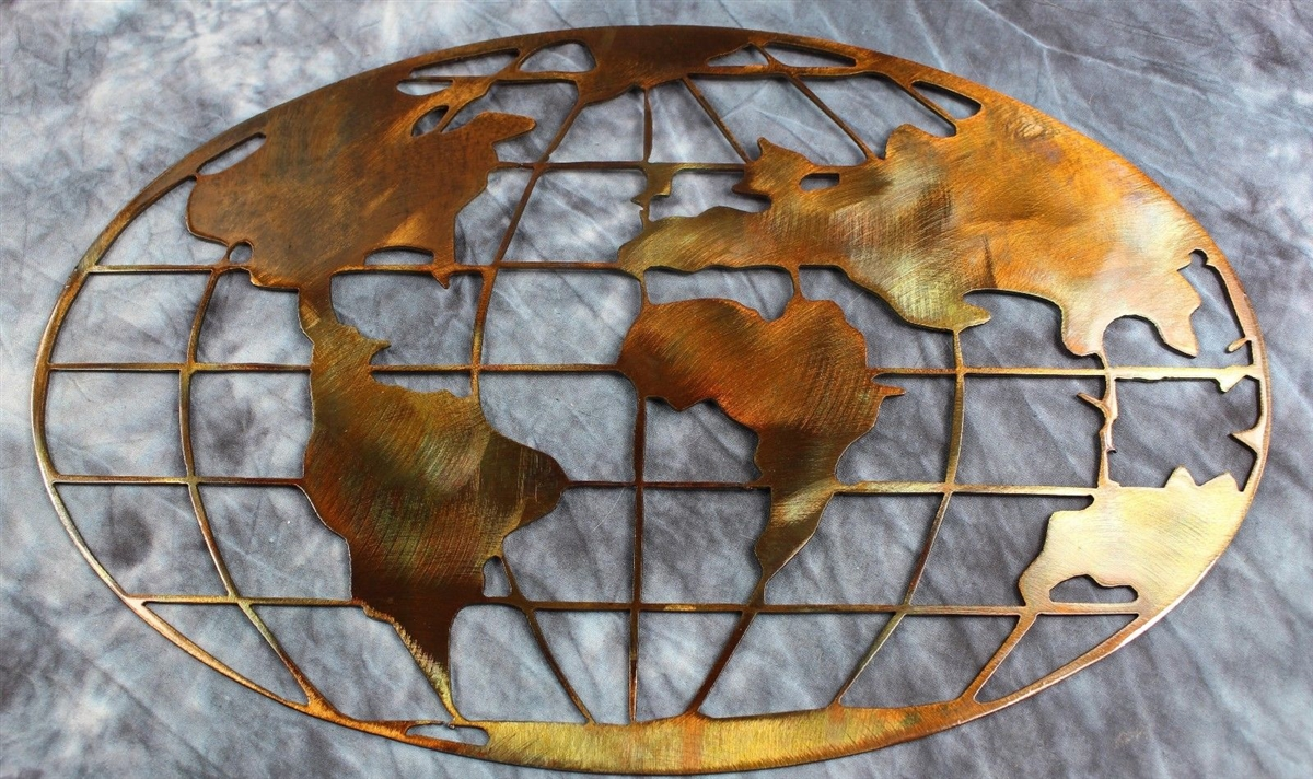 Metal Art World Map Copper Bronze Plated Multiple Sizes