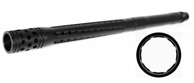 Trinity barrel for bt delta 16 aluminum black woodsball tactical paintballing paintballer accessory.