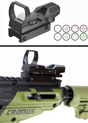 Trinity reflex red and green sight with 4 reticles for tippmann cronus paintballing optics woodsball paintballer gear.