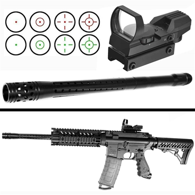 Trinity barrel and reflex sight for tippmann tmc paintball marker paintball optics aluminum black woodsball paintballer equipment.