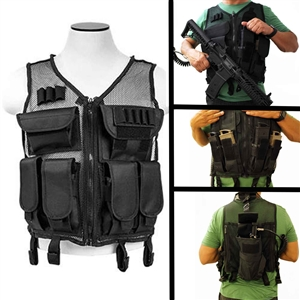 Lightweight Mesh Tactical Vest Black, M-XL.