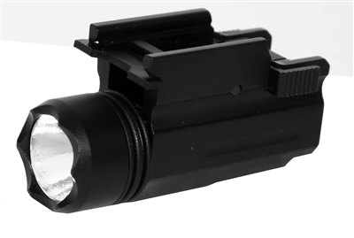 Trinity tactical 180 lumen led flashlight fits weaver rails handguns shotguns and rifles.