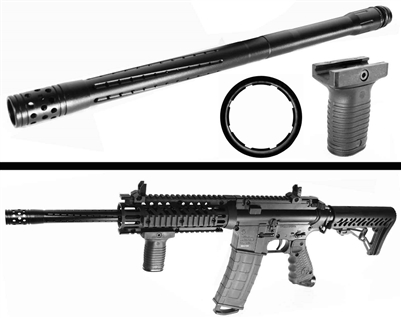Trinity accurate barrel 16 inches long aluminum black and grip kit for tippmann tmc paintball marker paintballing woodsball accessory.