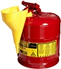 Justrite 7150110 Type I Galvanized Steel Safety Can with Funnel, 5 Gallons Capacity, Red