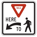 Yield here to (man)