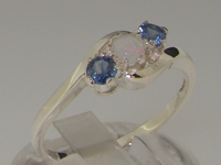 Elegant Sterling Silver Natural Australian Opal and Sapphire Trilogy Ring