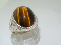 Elegant Mens Sterling Silver Cabochon Tiger Eye Signet Ring