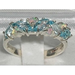 Elegant Sterling Silver Marquise Blue Topaz and Opal Half Eternity Ring