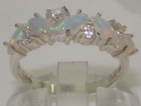 Stunning Sterling Silver Marquise Cut Natural Australian Opal and Diamond Half Eternity Ring