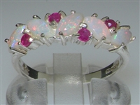 Stunning 10K White Gold Marquise Opal and Ruby Half Eternity Ring