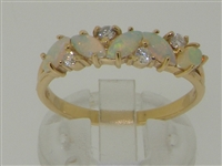 Glamorous 14K Yellow Gold Marquise Australian Opal and Diamond Half Eternity Ring