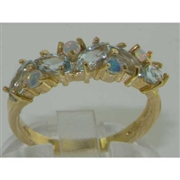 Beautiful 9K Yellow Gold Marquise Cut Aquamarine and Opal Half Eternity Ring