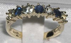Elegant 9K Yellow Gold Sapphire and Aquamarine Half Eternity Ring