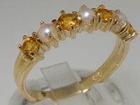 Sophisticated 9K Yellow Gold Pearl and Citrine Half Eternity Ring
