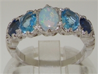 Stunning 14K White Gold Opal, Blue Topaz and Sapphire Five Stone Ring
