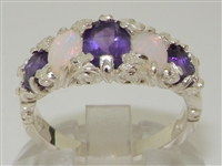 Beautiful 10K White Gold Amethyst and Opal Five Stone Ornate Design Ring