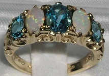 Elegant 14K Yellow Gold Blue Topaz and Opal Victorian Design Ring