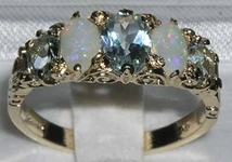 Stunning 14K Yellow Gold Aquamarine and Opal Victorian Design Ring