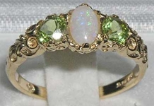 Elegant 10K Yellow Gold Opal and Peridot Trilogy Ring
