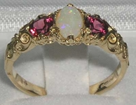 Exquisite Ornate 14K Yellow Gold Opal and Pink Tourmaline Trilogy Ring