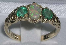Exquisite 14K Yellow Gold Opal and Emerald Trilogy Ring