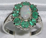 Beautiful 14K White Gold Opal and Emerald Cluster Dress Ring
