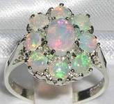 Stunning 9K White Gold Australian Opal Cluster Dress Ring