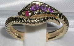 Beautiful 9K Yellow Gold Amethyst & Ruby Single Wrap Snake Ring