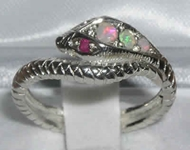 Stunning 9K White Gold Opal and Ruby Single Wrap Snake Ring