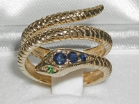 Vivacious 14K Yellow Gold Sapphire & Emerald Double Wrap Snake Ring