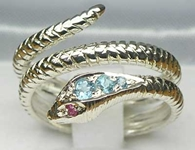 Stunning 9K White Gold Blue Topaz & Ruby Double Wrap Snake Ring