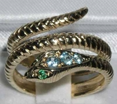 Exquisite 9K Yellow Gold Blue Topaz and Emerald Double Wrap Snake Ring