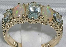 Elegant 9K Yellow Gold Aquamarine and Opal Five Stone Ring