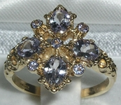 Stunning 9K Yellow Gold Tanzanite Diamond Shaped Ring