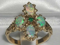 Opulent 9K Yellow Gold Emerald and Opal Ring