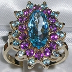 Extravagant 9K Yellow Gold Blue Topaz and Amethyst Cluster Ring