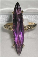Impressive 9K Yellow Gold Marquise Cut Amethyst Solitaire Ring