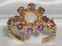 Pretty 9K Yellow Gold Opal and Amethyst Flower Cluster Ring