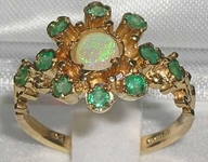 Lovely 9K Yellow Gold Opal and Emerald Cluster Design Ring