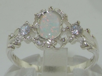 Dainty 9K White Gold Opal and Diamond Georgian Inspired Trilogy Ring