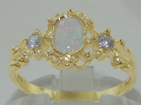 Dainty 9K Yellow Gold Opal and Diamond Trilogy Ring