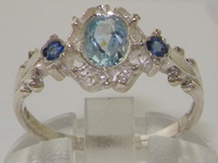 Dainty 9K White Gold Georgian inspired Aquamarine and Sapphire Ring