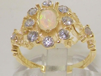 Beautiful 9K Yellow Gold Opal and Diamond Cluster Ring