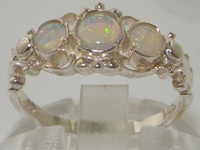 Exquisite 10K White Gold Georgian Style Opal Trilogy Ring