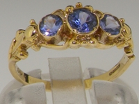 Dainty 9K Yellow Gold Tanzanite Trilogy Ring