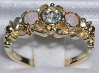 Stunning 9K Yellow Gold Aquamarine and Opal Five Stone Ring