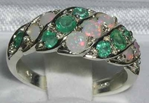 Vibrant 9K White Gold Opal & Emerald Band Ring